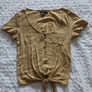 American eagle yellow Button Up Tee